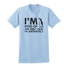 Im Kind of the Only Deal in Antarctica Short Sleeve T-Shirt Funny Vintage Graphic Retro Style Humorous Gift Present Sarcastic College Humor T-Shirt XL Lt. Blue