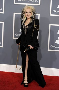 Cyndi Lauper attended the 54th Annual GRAMMY Awards in a Jean Paul Gaultier ensemble.