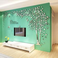 Large Size Couple Tree Mirror Wall Stickers TV Backdrop DIY Acrylic Autocollant Mural Home Decor Living Room Wall Decals Wall Stickers Living Room, Warm Home Decor, Tree Wall Stickers, Living Room Wall, Living Wall Decor, Mural Wall Art, Tv Wall Design, Wedding Room Decorations, Mirror Wall Stickers