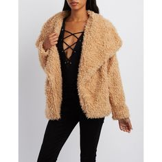 Charlotte Russe Fuzzy Faux Fur Jacket ($22) ❤ liked on Polyvore featuring outerwear, jackets, tan, charlotte russe, fake fur jacket, faux fur jacket, beige jacket and oversized jacket