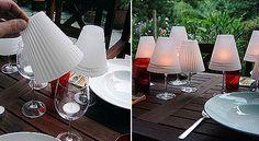 Bonitos centros de mesa con copas de vino y velas beautiful centrepieces using wine glasses, tracing paper and tealight candles <3