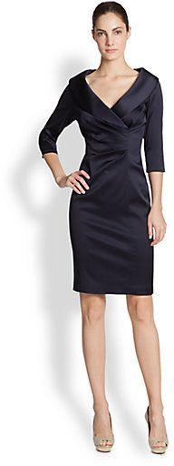 Kay Unger Stretch Satin Shawl Collar Dress