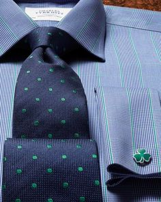 St Patrick's Day outfit sorted! Navy and green silk classic spot tie and shamrock cufflink