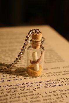 Messaggio in una bottiglia collana flacone di vetro