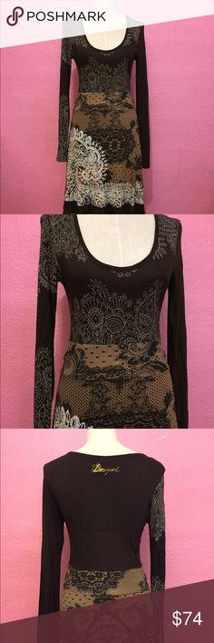 Long sleeve knit dress.  Artsy print Long sleeve knit dress.  Artsy print Disigual Dresses