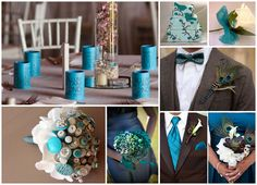 Teal Vintage Peacock Wedding Colours