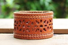CUSTOM HANDSTAMPED brown leather cuff with stitching and cut out design by mothercuffer by mothercuffer on Etsy