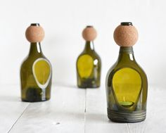New diy lamp glass candle holders ideas Wine Bottle Candle Holder, Diy Bottle, Wine Bottle Crafts, Glass Candle Holders, Garrafa Diy, Recycled Glass Bottles, Candle Lanterns, Votive Candles, Decoration
