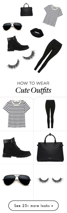"""Cute casual black outfit day"" by allcam on Polyvore featuring Burberry and Timberland"