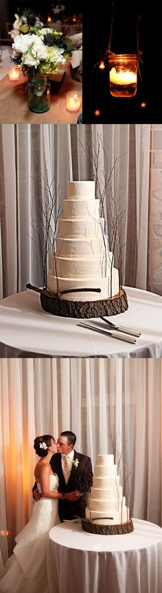 cake on tree slice stand