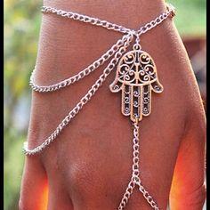 Spotted while shopping on Poshmark: Hamsa silver ring and wristlet bracelet.! #poshmark #fashion #shopping #style #Jewelry