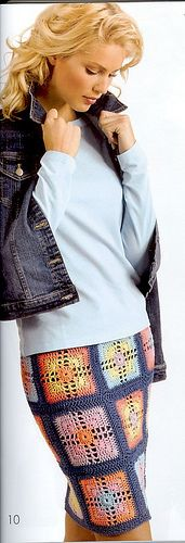 Granny Square Skirt--Doris Chan design.  Oddly, I really like this...free spirit meets classic chic