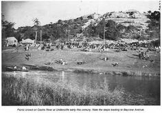 Picnic crowds beside the Cooks River - note the steps leading up to Bayview Ave