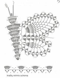 Free Crochet Butterfly Patterns - Her Crochet Crochet Butterfly Pattern, Crochet Applique Patterns Free, Crochet Motifs, Freeform Crochet, Crochet Diagram, Doily Patterns, Thread Crochet, Crochet Doilies, Crochet Flowers