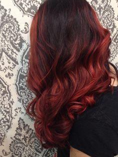 Red ombre Davines color