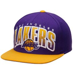 88b7e3eecff8e Los Angeles Lakers Mitchell   Ness Current Logo Double Bonus Adjustable Hat  - Purple