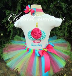 3D Cupcake Birthday Tutu Set--Party Outfit--1st 2nd 3rd or 4th birthdays-- Photo Prop
