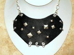 Black Leather Bib Necklace Punk by BumbleberryJewelry on Etsy, $24.00 #leatherjewelry #punk #handmade