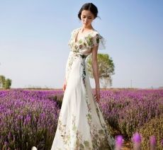 Summer Pattern Short Sleeve Long Floral Dresses