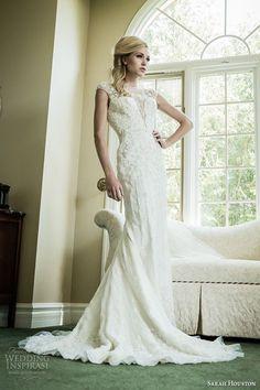 sarah houston 2015 bridal collection illusion sheer neckline sheath wedding dress unforgettable #wedding #dress #bride