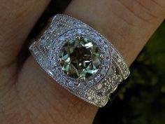 RARE 2 Ct Round Zultanite & .75 Ct Diamond Wide Band  Ring NWT 14k WG #Zultgems #Band