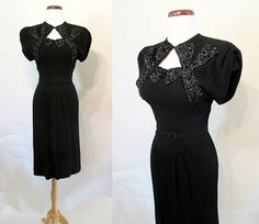 Hollywood  1940's Party Dress with Dramatic Bead Work Film Noir Rockabilly VLV Pinup Girl  Starlet Old Hollywood  Size Small/Medium