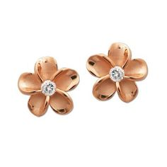 Plumeria Stud Earrings with Rose Gold Finish, 12mm