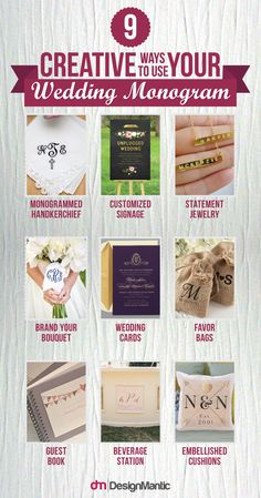We swoon for a classic affair filled with details that are timelessly elegant. Incorporating your monogram into the big day is an easy way to add a personalized touch that will stand the test of time. From the bride's attire to the reception decor, here are 10 classic ways to use your monogram on your wedding day! Monogram Maker, Free Monogram, Monogram Design, Free Wedding, On Your Wedding Day, Perfect Wedding, Wedding Monograms, Monogram Wedding, Reception Decorations