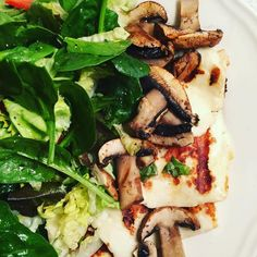 I made this grilled sheep's milk halloumi cheese on my new George Foreman Grill with grilled mushrooms and a side of lettuce spinach tomato and red pepper salad. Halloumi is an interesting cheese from Cypress that's very salty and firm and makes a great high protein low calorie vegetarian replacement for  a meat main dish. Thus was super tasty! by cherylswellness