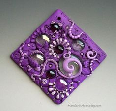Art Tile Polymer Clay and Glass Purple and Lavender Daisies and Droplets