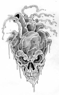 Skull Tattoos and Tattoo Designs Evil Skull Tattoo, Skull Tattoo Design, Tattoo Designs, Bullseye Tattoo, Soul Tattoo, Black Rose Tattoos, Heart Outline, Hearts And Roses, Infinity Tattoos