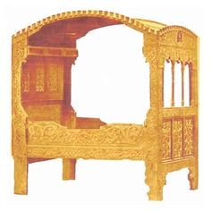 Circa 1500 style four poster bed, Late Gothic Alpine Detached box like enclosure with curved wood tester canopy