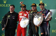 Alan Permane, Fernando Alonso, Kimi Raikkonen and Sebastian Vettel on the podium Rolex, Band On The Run, Australian Grand Prix, Lotus F1, Albert Park, Racing Events, F1 News, Star Wars, Red Bull Racing