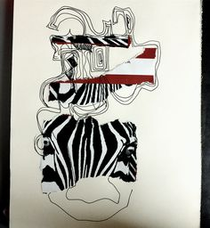 """""""Labyrihent"""" Collage and pen drawing, 2017"""