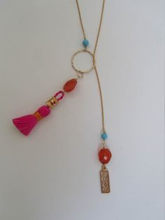 Cirque Chain in Gold, Carnelian, Turquoise and Pink Silk Tassel  Available at: www.oncefound.co.uk