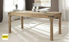 Moderní a praktický hranatý jídelní stůl z masivního dřeva. Dining Table, Rustic, Furniture, Home Decor, Products, Dinner Table, Homes, Essen, Country Primitive