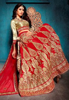 Gorgeous Red With Beige Lehenga Choli Online ,Indian Dresses