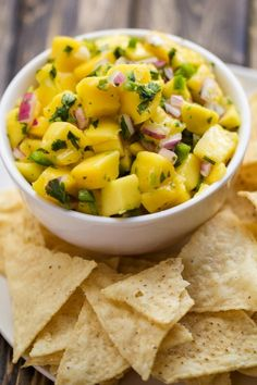 A super easy fresh mango salsa that comes together in just a few minutes. It is perfect just with tortilla chips, or on top of fish, chicken or pork.