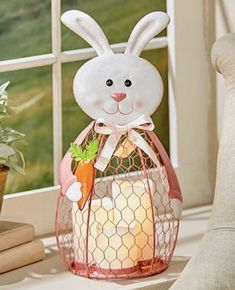 Easter Bunny Lantern w/LED Candles Indoor Easter Decorations Spring Home Decor  | eBay  This 3 LED Candle Easter Bunny Lantern emits a warm white glow when the candles are lit.
