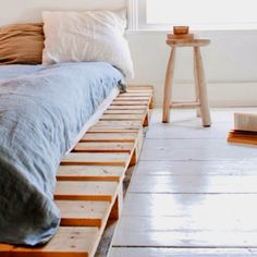 Something like this for the bed... Wood pallets for a platform and then mattress on top :)