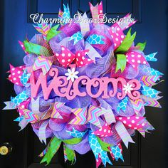 Spring Welcome wreath by CharmingDoorDesigns on Etsy