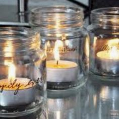 Wedding center pieces made from mason jars