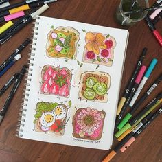 Stop believing the lies you tell yourself! For EVER I thought the only thing I would ever be good at drawing were flowers. I'm pretty happy to tell my inner critic to go away now! #catherinescanlon #catherinescanlondesigns #illustration #tombowdualbrushpens @tombowusa #watercolor #toast