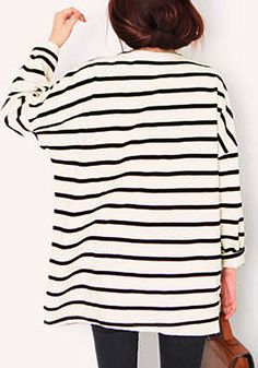 Striped Cotton Long-Sleeve Top- With Hi-lo Hem