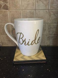 gold and white bride coffee mug so pretty by GlitzyGlitterGal
