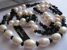 White Pearl and Black OBSIDIAN Cocktail Length Necklace with Sterling Silver - 25 inch Long Pearl Necklaces, Pearl Jewelry, South Sea Pearls, Bracelet Set, Pearl White, Sterling Silver Earrings, Chokers, Cocktail, Beaded Bracelets