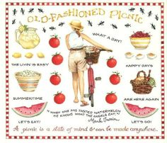 Old-Fashioned Picnic Stickers by Susan Branch Picnic Time, Summer Picnic, Summer Fun, Picnic Parties, Garden Parties, Beach Picnic, Themed Parties, Summer Breeze, Summer Days