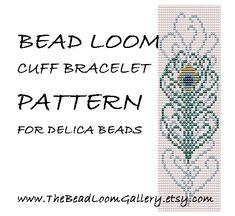*P Bead Loom Cuff Bracelet Pattern Vol.27 - Peacock Feather - PDF File PATTERN