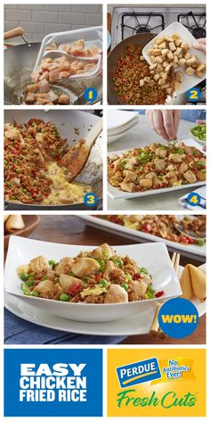 Flavorful and fast, PERDUE® FRESH CUTS™ Diced Chicken Breast, makes this Easy Chicken Fried Rice recipe a go-to for any busy weeknight. Turkey Recipes, Rice Recipes, Asian Recipes, Chicken Recipes, Healthy Recipes, Ethnic Recipes, Chicken Fried Rice Recipe Easy, Fried Chicken, Healthy Cooking