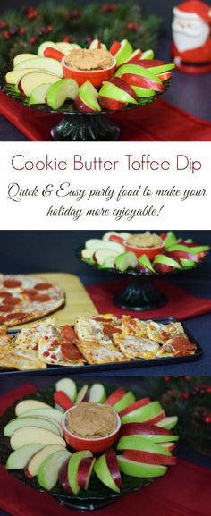 Just four ingredients make this yummy Cookie Butter Toffee Dip. With a hint of cinnamon and the crunch of toffee, this is perfect paired with apples and Red Baron pizza! #EasyHolidayEats #CollectiveBias #ad